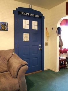 the door to the closet which holds the many many doctor who converse