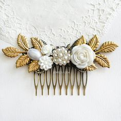 Chintz Vintage Inspired Elegant Gold Wedding Hair Accessory by Jewelsalem