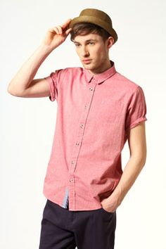 Short Sleeve Salmon Chambray Shirt from UK #boohoo £20.00