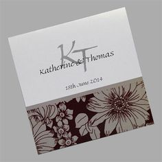 These monogram wedding invitations feature a floral pattern which can be printed in many different colours. www.kardella.com