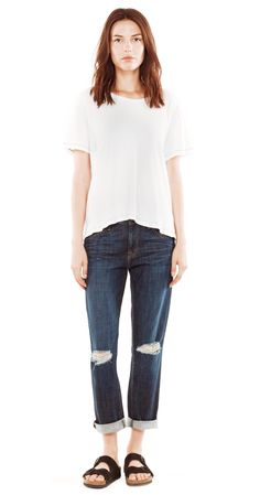 a slimmer version of our classic boyfriend jean. wear this cropped low on the hips and rolled at the ankle.
