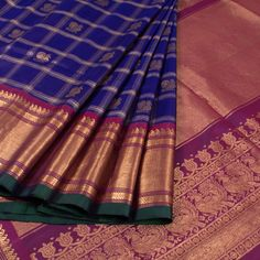 Buy online Handwoven Blue Gadwal Kuttu Silk Saree With Checks & Peacock Motifs 10015040