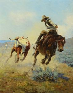 """❦ Roper - oil on canvas (1924) by E. William Gollings (1878-1932) """"Elling William """"Bill"""" Gollings was one of the last of his kind. He was a true 'Ranahan,' which meant 'top hand' in cowboy lingo. A cowboy on horseback, he gentled tough range horses, and he sketched and painted as he herded or tended cattle. He came into the West fairly late to see the country as the natives had seen it, but he was not too late to see conditions similar to those experienced by the Amer…-SR"""