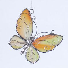 stained glass butterfly | Details about Stained glass yellow butterfly sun catcher