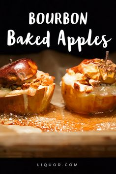 Stuffed with brown sugar, oats and nuts and cooked in a combination of cider and bourbon, these baked apples are an irresistible fall #dessert, especially when topped with a scoop of ice cream! This boozy treat will be the hit of the holidays!