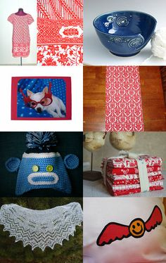 Blue & red treasury featuring our Classis Red fat quarter fabric bundle