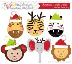 INSTANT DOWNLOAD, Christmas jungle animals clipart, christmas clip art, for baby showers, invitations, annoucements, digital scrapbooking         May 15, 2014 at 06:55PM
