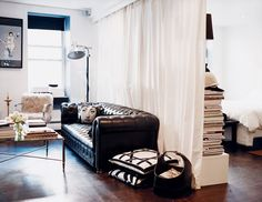 Domino's round-up of best small studio spaces. Read to learn simple tricks for making the most of tiny apartments. Shop products perfect for small spaces and studio apartments. For more small space decorating ideas go to Domino. Small Living Rooms, Living Room Decor, Bedroom Decor, Small Bedrooms, Living Area, Bedroom Furniture, Studio Decor, Studio Apartment Decorating, White Studio Apartment