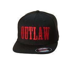 Outlaw Threadz Mens Bold Flexfit HatOne Size BlackRed    Click image for  more details. 68de2890d5a8