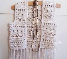 Crochet boho vest for a kid. Mode Crochet, Diy Crochet And Knitting, Crochet Coat, Crochet Girls, Crochet For Kids, Crochet Shawl, Crochet Clothes, Crochet Baby, Crochet Vest Pattern