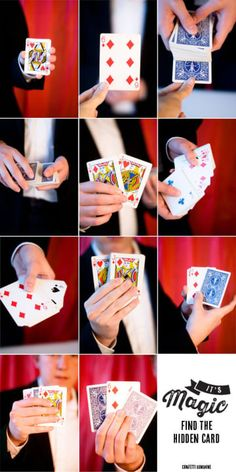 Find a hidden card in a deck. 15 Easy Magic Tricks That Will Blow Your Kids' Minds Card Tricks For Kids, Easy Magic Card Tricks, Magic Tricks Tutorial, Cool Card Tricks, Learn Magic Tricks, Magic Tricks For Kids, Hand Tricks, Magic Tricks Revealed, Amazing Card Tricks