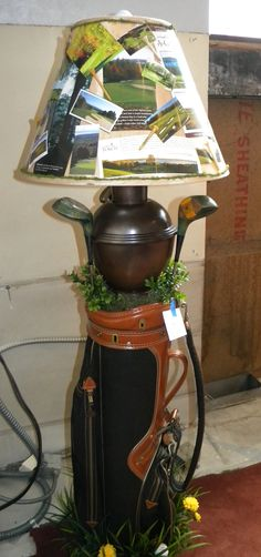 Golf lamp made from golf bag and clubs