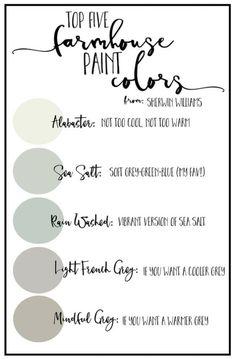 Farmhouse Paint Color Palettes | Favorite Paint Colors Blog