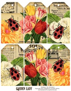 Ephemera's Vintage Garden: Free Printable - Ladybug Hang Tags...love these and they are her freebie for this week!