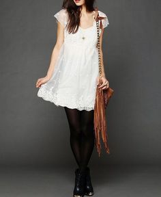 NEW FREE PEOPLE $168 Lace Embroidered Mini Dress Scalloped Bohemian Swing XS NWT #FreePeople #Sundress #Casual