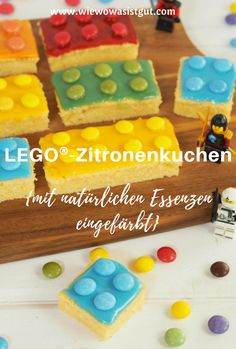 LEGO®-Zitronenkuchen {Advertisement} This quick Lego® lemon cake is the winner on every kid's birthday party. And the great thing is that I colored it with natural essences from Eat a Rainbow. Cakes Originales, Bolo Lego, Colorful Cakes, Food Humor, Mini Cupcakes, Oreo Cupcakes, Kids Meals, Cake Recipes, Food And Drink
