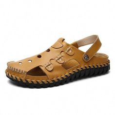 men button hollow out slip on breathable flat beach sandals men button hollow out slip on breathable flat beach sandals shoes Sierra Leone, Ghana, Belize, Water Shoes, Boat Shoes, Shoes Sandals, Footwear Shoes, Leather Sandals, Leather Buckle