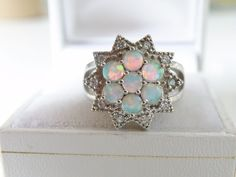 Estate Sterling Silver 925 Ethiopian Fire Opal White Topaz Cluster Ring Size 8 #Handmade #Cocktail