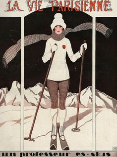 Sports clothing drawing - la vie parisienne 1924 france by the advertising archives Vintage Ski Posters, Art Deco Posters, Illustrations, Illustration Art, Magazine Illustration, Theme Sport, Vintage Magazines, France, Cover Art