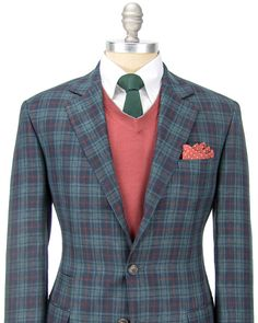 Brunello Cucinelli Green Plaid Sportcoat 3 button jacket Soft construction jacket Notch lapel Navy melton Front left chest pocket Flap pockets Ticket pocket Partially lined Navy lining Double vent 49% linen, 32% wool, 19% silk Made in Italy