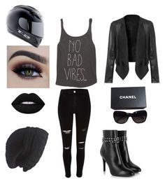 """Biker girl. Goth look"" by cheetahloverlol on Polyvore featuring Billabong, Yves Saint Laurent, Chanel, Laundromat, Lime Crime, women's clothing, women, female, woman and misses"