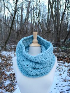 light blue crochet cowl scarf, circle scarf, neckwarmer by spinningsheep on etsy
