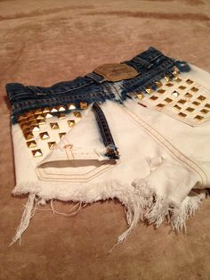 studded ombre shorts