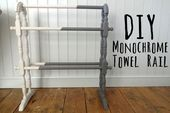 Monochrome Towel Rail Upcycle - #Monochrome #Rail #Towel #Upcycle Towel Rail, Magazine Rack, Monochrome, Upcycle, Storage, Diy, Home Decor, Homemade Home Decor, Towel Holder