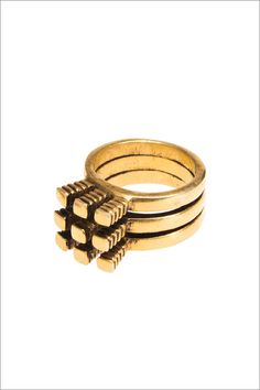 #Tri-part Studded Ring by cloakanddaggernyc    Please visit my blog for more cool stuff!    Also Please Share Thanks!