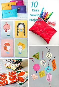 10 Easy Beginner Sewing Projects for Kids. Fun ideas to teach kids how to sew for the first time.