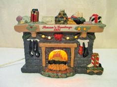 Christmas Fireplace Figurine Lighted by LuckyPennyTrading on Etsy