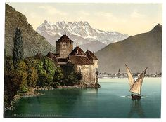 Chillon Castle, and Dent du Midi, Geneva Lake, Switzerland, Print shows a lateen-sail barque on Lake Geneva near the Château de Chillon and with the Dents du Midi in the background. Library of Congress Prints and Photographs Division Washington, D.C. 20540  Views of Switzerland in the Photochrom print collection.