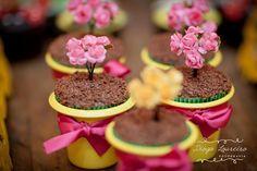 Cupcakes com Florzinhas para Festa dos Pássaros