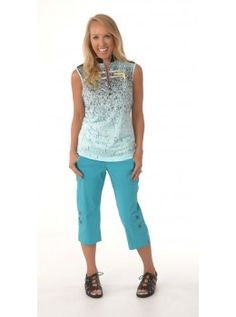 Jamie Sadock Serenity Women's Sleeveless Abstract Print Mock Neck Golf Shirt- Serenity Blue