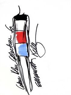 A sketch of the updated limited edition dress collaboration with artist Ellsworth Kelly and Francisco Costa, Calvin Klein Collection's Women's Creative Director.