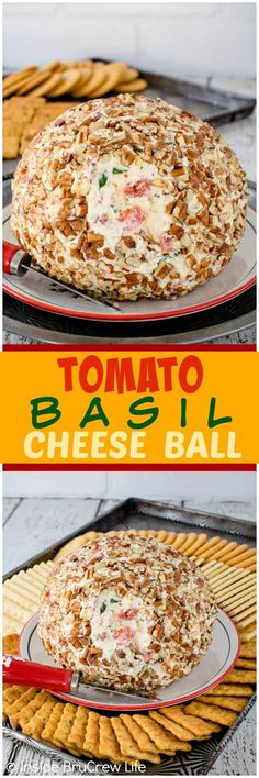 Tomato Basil Cheese Tomato Basil Cheese Ball - three cheeses fresh tomatoes herbs & nuts give this easy dip lots of flavor. Great appetizer for game day parties! Best Party Appetizers, Recipes Appetizers And Snacks, Cheese Appetizers, Appetizer Dips, Yummy Appetizers, Snack Recipes, Cooking Recipes, Party Snacks, Party Desserts