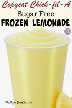 recipe for Sugar Free Copycat Chick-fil-A Frozen Lemonade I need this right now. A Copycat Chick Fil A Frozen Lemonade that is Sugar Free! A Copycat Chick Fil A Frozen Lemonade that is Sugar Free! Sugar Free Drinks, Sugar Free Desserts, Sugar Free Recipes, Sugar Free Meals, Sugar Free Baking, Sugar Free Diet, Keto Smoothie Recipes, Smoothie Drinks, Smoothies