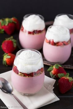 For a beautiful and delicious Mother's Day treat, whip up this easy Strawberry Cheesecake Mousse. Fresh strawberries are paired with cream cheese to create a luscious cheesecake filling.