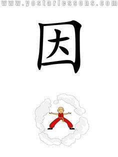 因 = because. Imagine a guy stuck in smoke because of a fire. Detailed Chinese Lessons @ www.yostarlessons.com