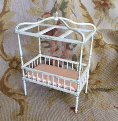 """Bespaq Handcrafted Artist Made White Hand painted Canopy Baby Bed measures approximately 4 3/4"""" Wide, 6 1/2"""" High, 2 3/4"""" Deep. - Scale: 1 inch equals 1 foot"""