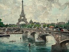 A sky over Paris, a Watercolor Painting on Paper, by maximilian damico from Czech Republic, Sold out, Price is $495, Size is 15 x 19.5 x 0.1 in.