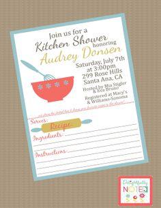 Recipe Bridal Shower Invitations Kitchen Theme. $25.00, via DelightfullyNoted on Etsy.