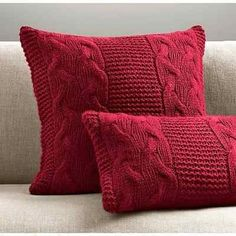 Knitting Pillow Patterns for Beginners Italian Wool & Alpaca Cable Knit Pillow Cover - Garnet Knitted Cushions, Knitted Blankets, Crochet Home, Knit Crochet, Crochet Scrubbies, Modern Crochet, Hand Knitting, Knitting Patterns, Crochet Pillow
