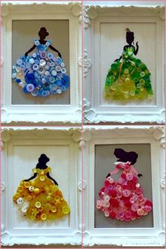 Crafts,Craftsforkids-Princess From Disney World Made With Buttons In A Frame Disneycrafts Crafts Craftsforkids Craftsformomandkids Diyprojects D Kids Crafts, Cute Crafts, Diy And Crafts, Arts And Crafts, Button Crafts For Kids, Kids Diy, Party Crafts, Art Party Favors, Quick Crafts
