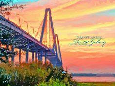 Corel painter Karen Velasquez paints the Ravanel Bridge in Charleston, Sc