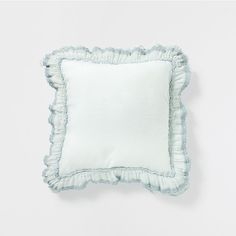DUSTY BLUE LINEN CUSHION WITH LACE FRILL