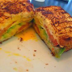Fried egg and avocado breakfast sandwich