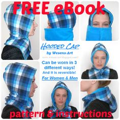 free hooded cap pattern and instructions to make in about an hour 'Hooded Cap' FREE eBook