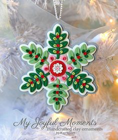Handcrafted Polymer Clay Christmas Ornament by Kay Miller on Etsy.