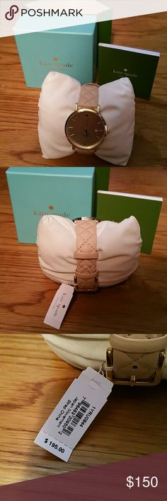 NWT Kate Spade Leather Watch NWT Kate Spade Leather Watch Tan color, quilted look, leather band Gold face Brand new with tags $195 Original Price Box, Pillow, Paperwork all included with purchase Beautiful watch. Band almost looks like in between blush and tan 2 DAY SALE OR GIVING AS A GIFT kate spade Accessories Watches